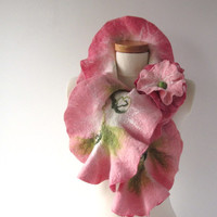 Felted scarf ruffle collar - Pink Rose.