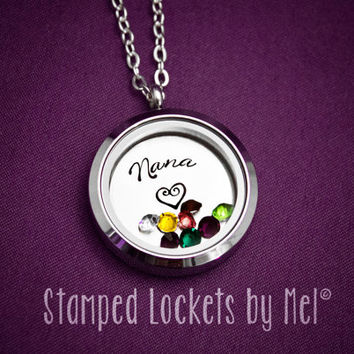 Nana - Grandmother Necklace - Hand Stamped Stainless Steel Locket - Grandchildren's Birthstones - Personalized Jewelry - Grandma, Granny