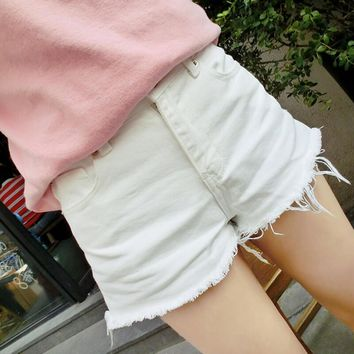 womens retro white denim jeans shorts summer gift 77 2