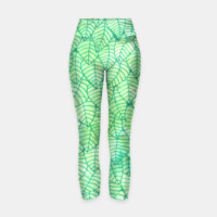Green foliage Yoga Pants, Live Heroes