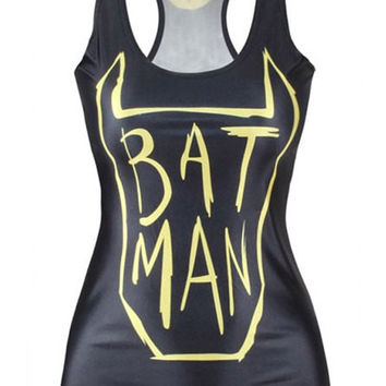 "Black ""BATMAN"" Racer-back Tank Top"