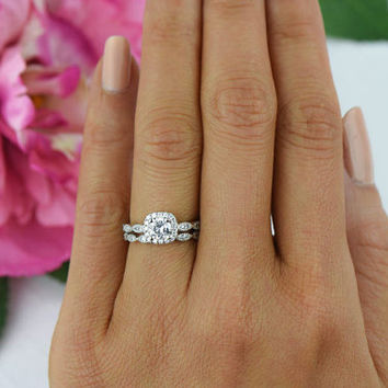3/4 ctw Halo Wedding Set Vintage Style Bridal by TigerGemstones