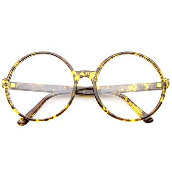 Retro Oversize Round Clear Lens Glasses A375