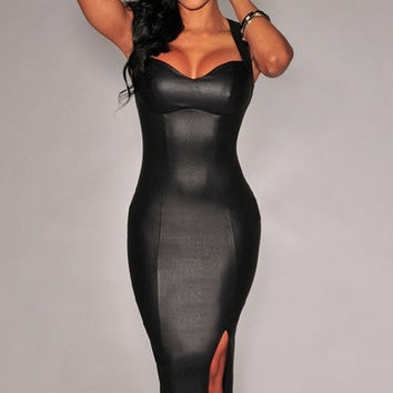 Black Faux Leather Key-Hole Back Padded Midi Dress = 1955566340