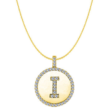"""I"" Diamond Initial 14K Yellow Gold Disk Pendant (0.48ct)"