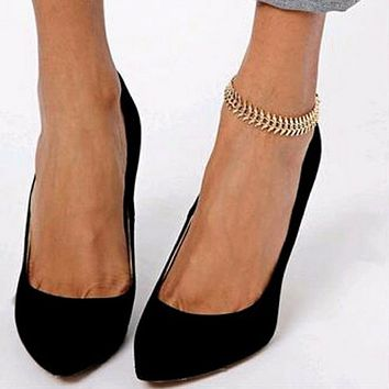 Gold Chain Feather Anklet