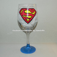 Superman wine glass