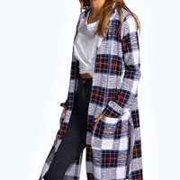 Eliza Check Side Split Duster Coat