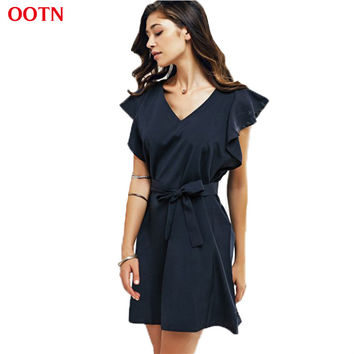 OOTN Casual Fashion Dress Women Tunic Ruffles Mini Dresses Navy Blue V neck Butterfly Sleeve Dress Summer Sundress High Quality