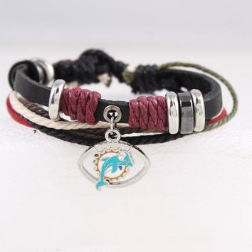 Fashion Leather Bracelet Miami Dolphin Team Charm Bracelet Braided Leather Bracelet Football Fans Bracelet For Women Jewelry