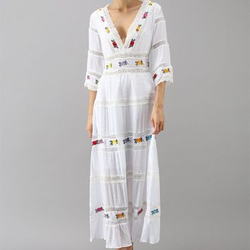 Embroidery and Lace Trims Inserted Cotton Maxi Dress in White