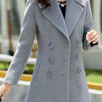 Button Design Lapel Long Sleeve Peacoat