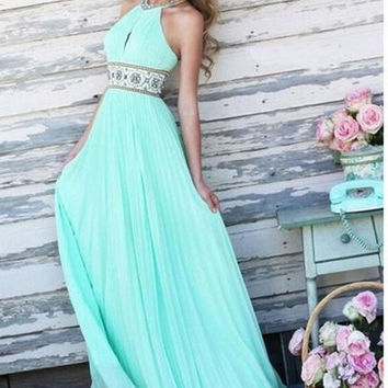 Elegant Summer Women Waist Sleeveless Maxi Party Dress = 1955593988