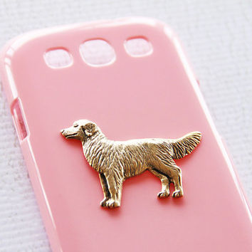 Golden Retriever Glossy Pink S3 Galaxy Hard Shell Gold Plated Smartphone Case iPhone 6 Plus Case