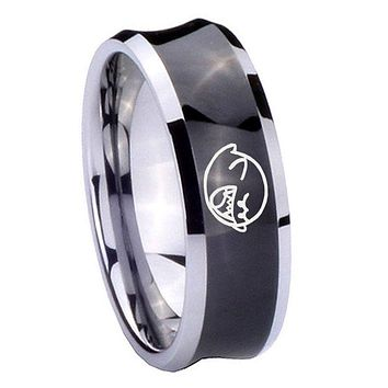 8MM Black Concave Mario Boo Ghost Two Tone Tungsten Carbide Laser Engraved Ring