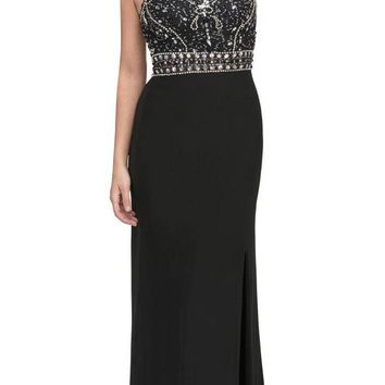 Starbox USA 6191 Fit and Flare Long Prom Dress Embellished Bodice Black
