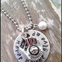 "Hand Stamped ""Never, Never Give Up"" Baseball or Softball Charm Necklace with pearl bead"