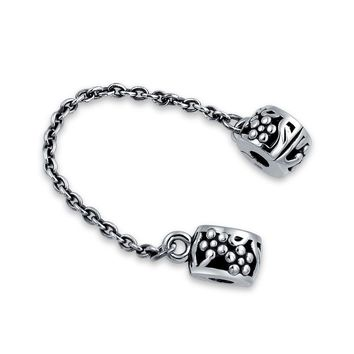 Floral Daisy Chain Spacer Stopper Charm Bead Sterling Silver Bracelet