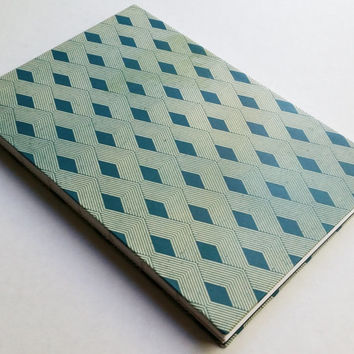 Crossing lines triangle blue pattern 80 paged blank journal 5.5 X 8.5