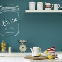 Personalized Family Name Mason Jar Established Date Vinyl Wall Decal Lettering Decor Words for your wall  Quotes for the wall