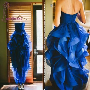 2016 Romantic Vestido de festa longo Sweetheart Organza Ruffles Pleated Hi Lo Gown Sleeveless Royer Blue long Bridesmaid Dresses