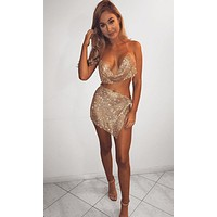 Indie XO Here to Party Crystal Metallic Rhinestone Diamanté Mesh Sleeveless Chain Cowl Neck Backless Crop Top Slit Mini Two Piece Dress