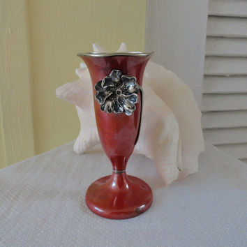 Art Nouveau Sterling Silver Red Vase La Pierre Patina Copper Antique