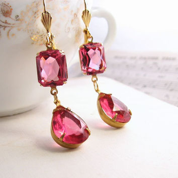Valentine earrings Honeysuckle Pink with vintage by shadowjewels