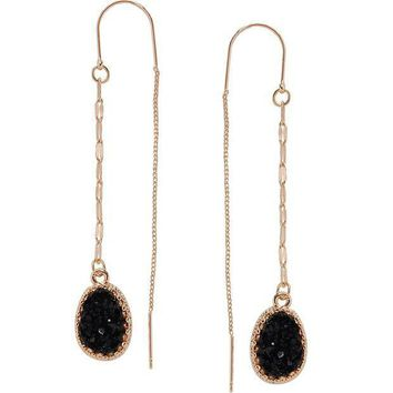 CREYV2S Humble Chic Simulated Druzy Chain Bar Threaders - Long Sparkly Needle Drop Earrings
