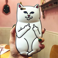 Cute 3D Ripndipp Nermal Middle Finger Pocket Cat Sillica Gel Case For iPhone 5S 5 5G Funny Interesting Soft Rubber Cartoon Cover