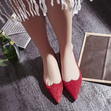 Summer Leather Pointed Toe Flat Pregnant Shoes [4920469508]