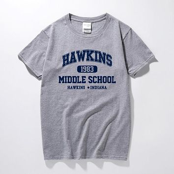 STRANGER THINGS Hawkins High School short sleeve t shirts tee tshirts 100% cotton jersey joggers free shipping