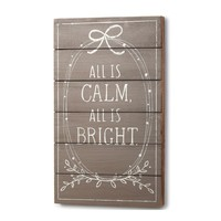 All Is Calm, All Is Bright - Wood Wall Art Silent Night Lyrics - 24-in
