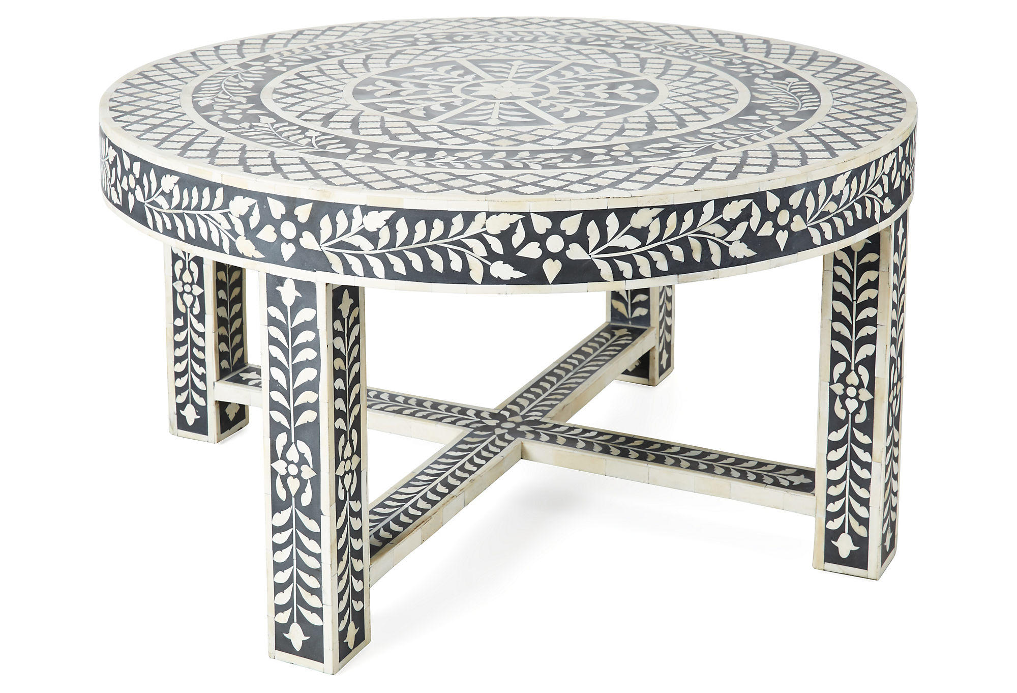 devin bone inlay coffee table black from one kings lane. Black Bedroom Furniture Sets. Home Design Ideas