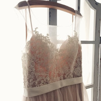 Romantic Peach Backless Boho Lace Wedding Dress Great for  Beach Wedding- AM 7896200