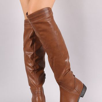 Wild Diva Lounge Perforated Riding Over-The-Knee Boots