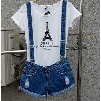 New 2017 Strap shorts jeans overalls lager size loose casual denim shorts suspenders Jumpsuits Rompers women blue hole S-XXL Bob