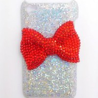 Silver Special Party Cute Bling Red Bow Diamond Case Cover for Apple Ipod Touch 4g 4 4th Gen
