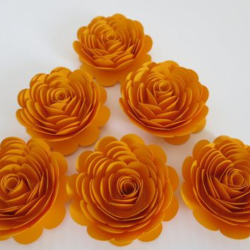 "Gold Paper Roses, Matte 3"" Flowers, Set of 6, Golden Anniversary 50th Party, Table Centerpiece Decorations, Fall Wedding Decor, Thanksgiving"