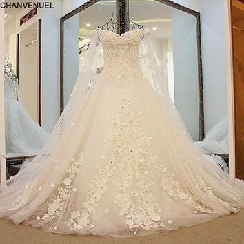 LS41596  Luxury Wedding Dresses Princess with Long Cape Ivory Bridal Gowns Corset Back Robe De Mariee 2017 Real Photos