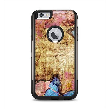 The Vintage Blue Butterfly Background Apple iPhone 6 Plus Otterbox Commuter Case Skin Set