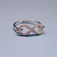Linked Infinity Ring with Tiny cubic zirconia stones in silver