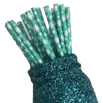 "7.75"" green Christmas snowflake paper straws / 6-25 pieces"