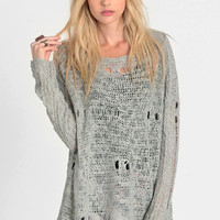 Teen Spirit Holey Sweater in Gray - $46.00: ThreadSence, Women's Indie & Bohemian Clothing, Dresses, & Accessories