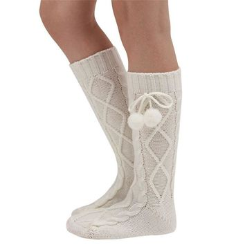 3 Color Fashion Women Girls Ladies Knitted Long Boot Socks Over Knee Thigh High Stock Sexy Warm Pantyhose
