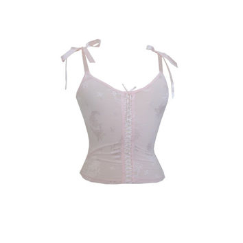 Sheer Pink Lace Ribbon Camisole Size XS or Small