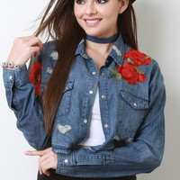 Floral Applique Distressed Chambray Top