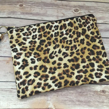 Leopard Print Clutch with Black Leather Tassel, Oversize Leopard Clutch, Black Fringe Clutch