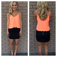 Neon Coral Scallop Crop Top