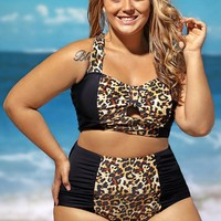 Plus Size Contrast Leopard Splice Curvy High Waist Bathing Suits